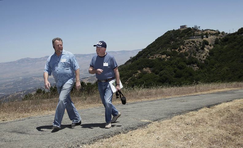 2010: Air Force veterans J.D. Whitaker, left, and Bob Watts revisit the top of Mt. Umunhum after a ceremony marking the start of clean-up at the former Air Force station. Whitaker served at the base in the late 1970s, and Watts served there in the early 1960s. (Gary Reyes /Mercury News)