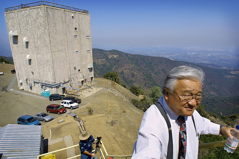 2002: Rep. Mike Honda walks up a tower atop Mt. Umunhum after a press conference about efforts to secure federal funding to clean up the former military site. (Rick E. Martin, Mercury News)